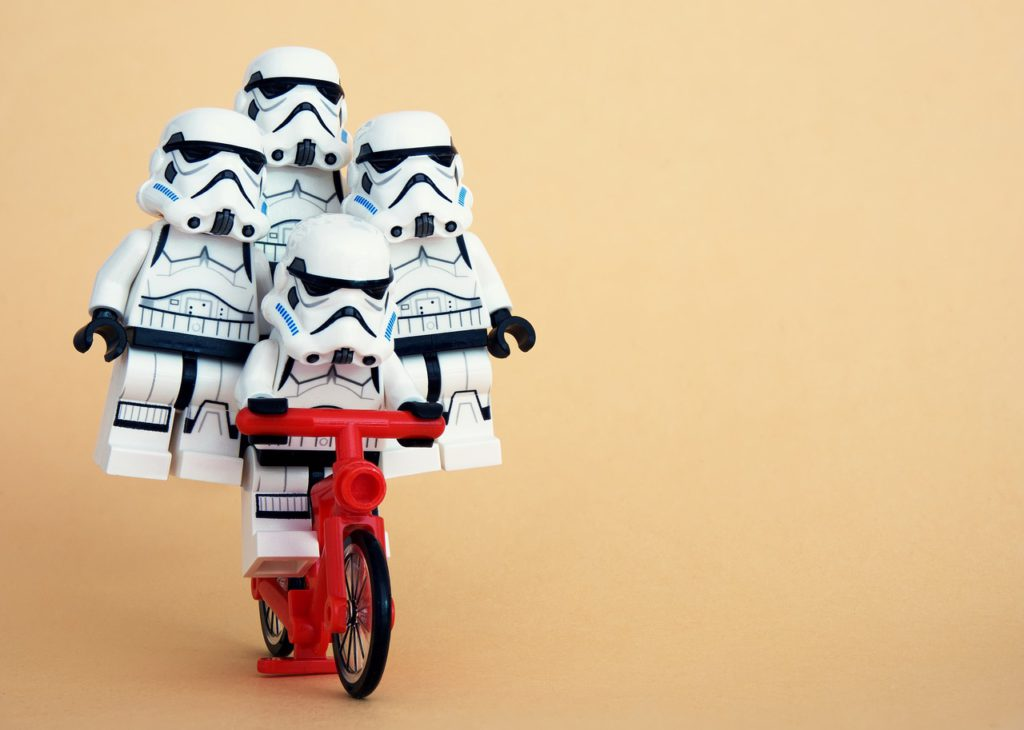 lego, stormtrooper, cycling